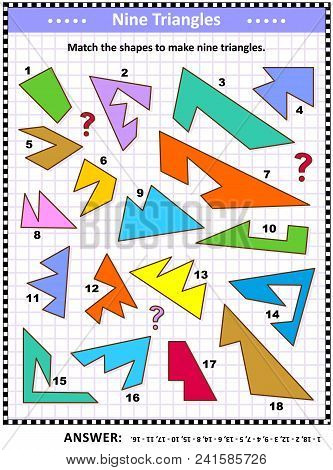 Iq And Spatial Skills Training Math Visual Puzzle: Match The Shapes To Make Nine Triangles. Answer I