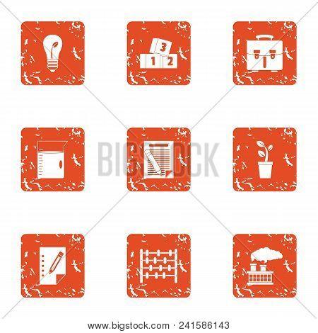 Monetary Ecology Icons Set. Grunge Set Of 9 Monetary Ecology Vector Icons For Web Isolated On White