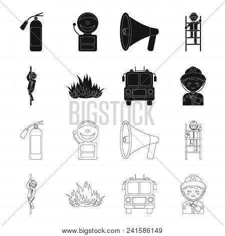 Fireman, Flame, Fire Truck. Fire Departmentset Set Collection Icons In Black, Outline Style Vector S
