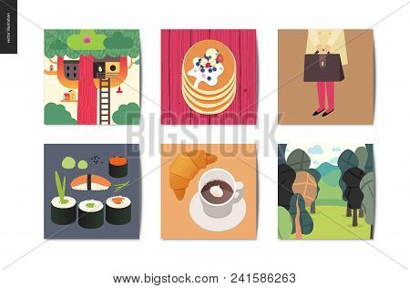 Simple Things - Cards - Flat Cartoon Vector Illustration Of Treehouse, Stack Of Pancakes, School Gir