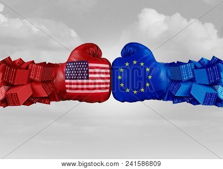 Europe Usa Trade Fight And Economic War With American Tariffs As Two Opposing Fist Freight Container