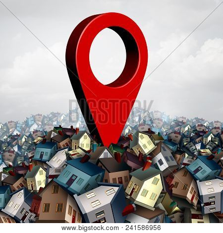 House Search Finding A Home And Find Property Concept As A Pin On A Group Of Family Houses As A Real