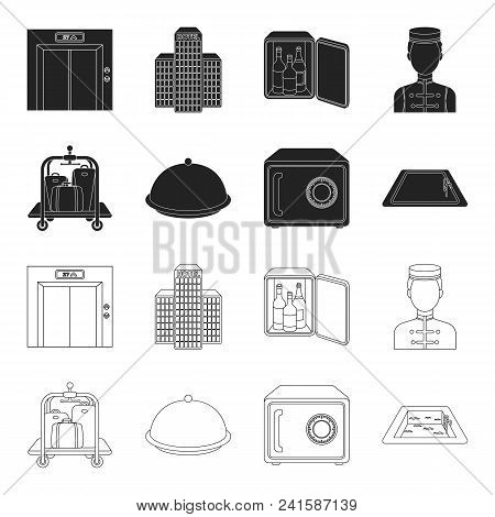 Trolley With Luggage, Safe, Swimming Pool, Clutch.hotel Set Collection Icons In Black, Outline Style