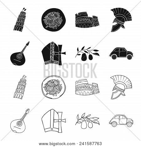 Mandolin, Papa, Olive, Retro Auto.italy Country Set Collection Icons In Black, Outline Style Vector
