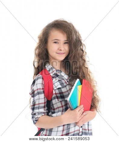 Stylish teenager with copybooks on white background