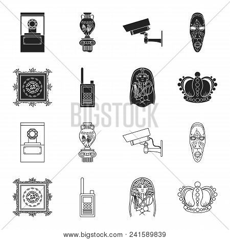 Picture, Sarcophagus Of The Pharaoh, Walkie-talkie, Crown. Museum Set Collection Icons In Black, Out