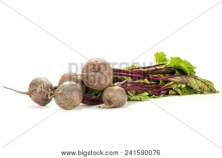 Red Beet Bundle With Greens Isolated On White Background Five Bulbs Root With Fresh Young Leaves