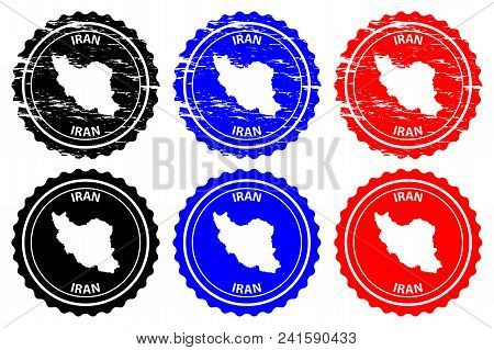 Iran - Rubber Stamp - Vector, Islamic Republic Of Iran (persia) Map Pattern - Sticker - Black, Blue