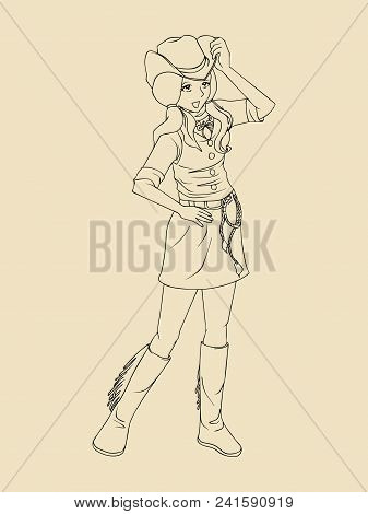 Line Art Illustration Of A Cowgirl Isolated On Blank Background