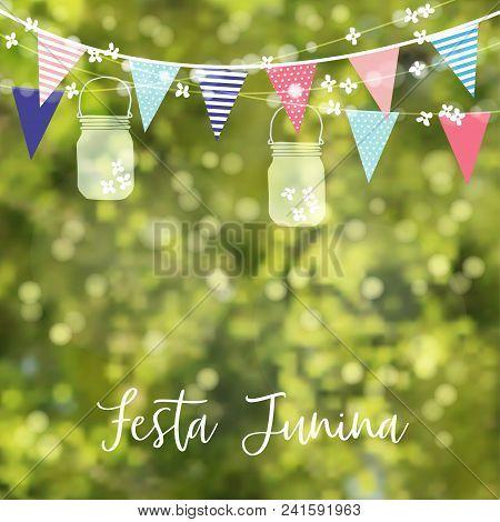 Brazilian June Party, Festa Junina. String Of Lights, Colorful Flags, Jar Lanterns. Party Decoration