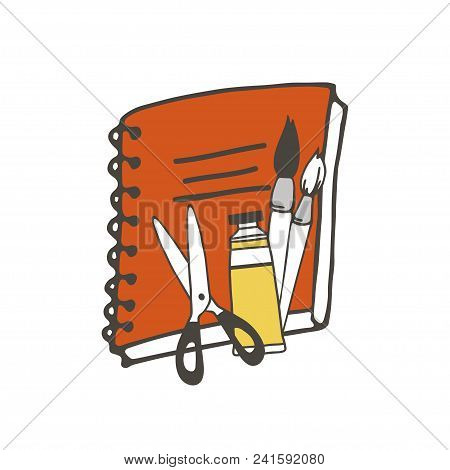 Red Notebook, Brushes, Paint And Scissors Vector Illustration. Isolated Vector School Or Office Stuf