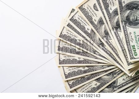 Cash Money Dollar. Background With Money American Hundred Dollar Bills. Top View On White Background