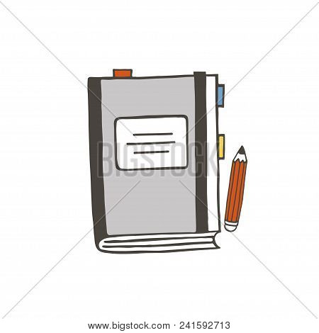 Grey Notebook And Red Pencil Vector Illustration. Isolated Vector School Or Office Stuff.