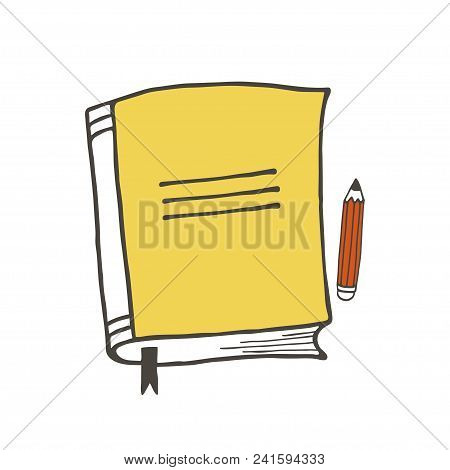 Yellow Notebook And Red Pencil Vector Illustration. Isolated Vector School Stuff.