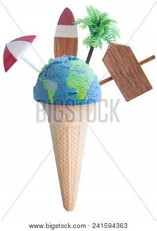 Ice Cream Cone With Atlas Map And Vacation Items Including Vacation Painted On Beach Post, Parasol A
