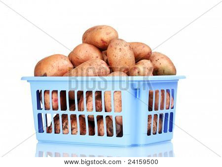 Potatoes in blue plastic box isolated on white