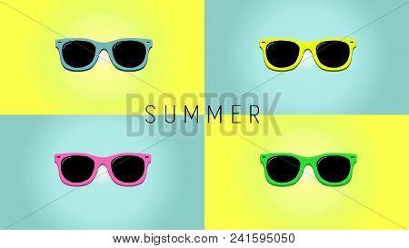 Minimalistic Summer Background With Sunglass. Cartoon Style Flat Design. Sunglasses Silhouette. Simp
