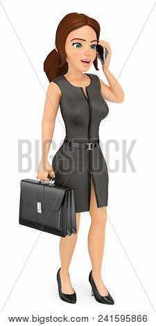 3d Business People Illustration. Businesswoman With Briefcase Talking On Mobile Phone. Isolated Whit
