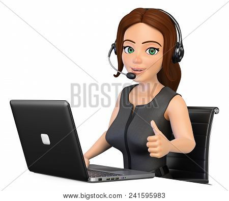 3d Working People Illustration. Call Center Operator Working With A Laptop And Thumb Up. Isolated Wh