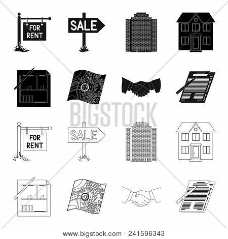House Plan, Documents For Signing, Handshake, Terrain Plan. Realtor Set Collection Icons In Black, O