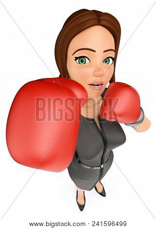 3d Business People Illustration. Businesswoman With Boxing Gloves In Defense Position. Isolated Whit