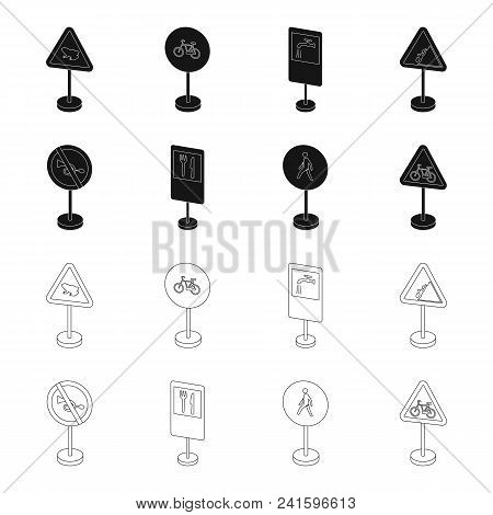 Different Types Of Road Signs Black, Outline Icons In Set Collection For Design. Warning And Prohibi