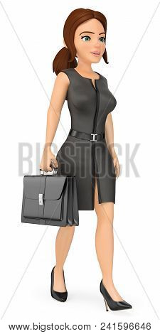 3d Business People Illustration. Businesswoman Walking With A Briefcase. Isolated White Background.