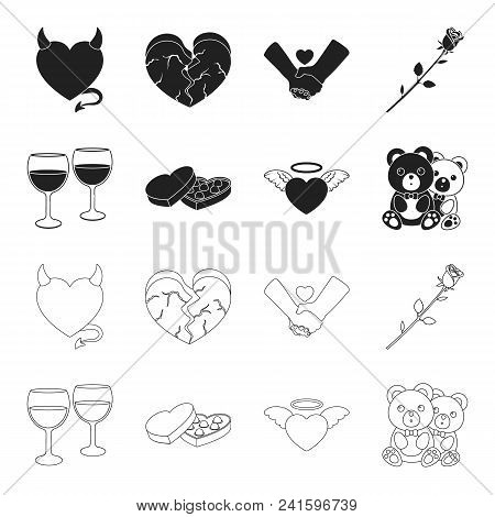 Glasses With Wine, Chocolate Hearts, Bears, Valentine.romantik Set Collection Icons In Black, Outlin