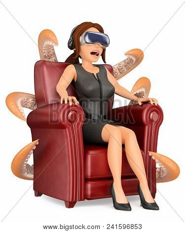 3d Business People Illustration. Businesswoman Watching A Scary Movie With Virtual Reality Glasses.