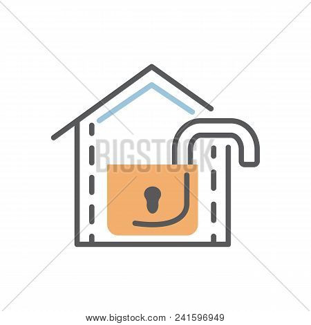 Open Lock Icon Flat And Line Modern Illustration Over White.safety Concept.