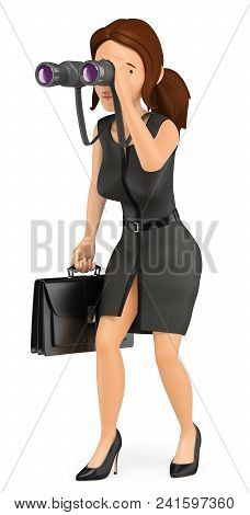 3d Business People Illustration. Businesswoman Looking Through A Binoculars. Future Vision. Isolated