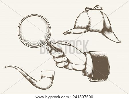 Vintage Detective Elements. Hand With Magnifying Glass, Smoking Pipe And Hat Inspired By Sir Arthur