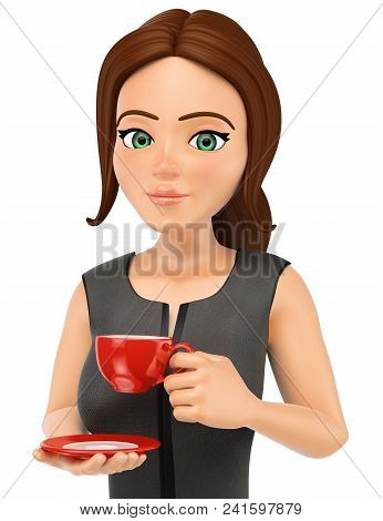 3d Business People Illustration. Businesswoman Drinking A Hot Cup Of Coffe. Isolated White Backgroun