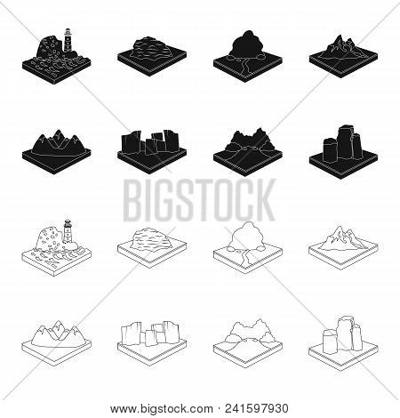 Mountains, Rocks And Landscape. Relief And Mountains Set Collection Icons In Black, Outline Style Is
