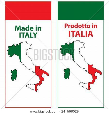 Made In Italy (prodotto In Italia) - Sticker Set For Print Designed For The Retail Industry. The Tex