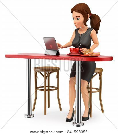 3d Business People Illustration. Businesswoman Having Breakfast Before Going To Work. Isolated White