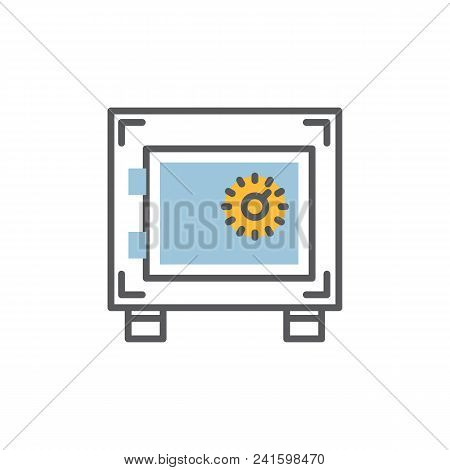Safe Icon Modern Thin Line.closed Safe Symbol With Code Lock Isolated Over White