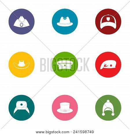 Headpiece Icons Set. Flat Set Of 9 Headpiece Vector Icons For Web Isolated On White Background