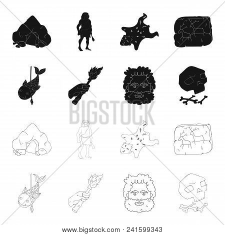 Primitive, Fish, Spear, Torch .stone Age Set Collection Icons In Black, Outline Style Vector Symbol