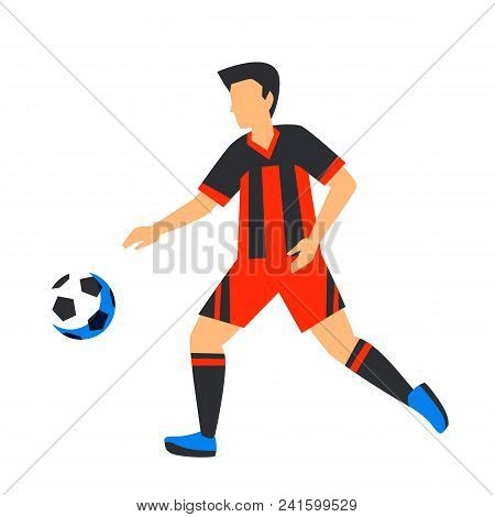 Abstract Red Football Player With Ball. Soccer Player Isolated On A White Background. Football Cup.