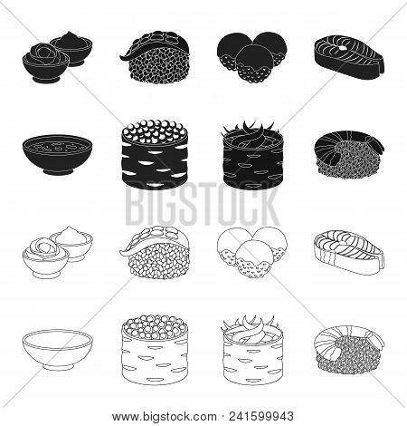 Bowl Of Soup, Caviar, Shrimp With Rice. Sushi Set Collection Icons In Black, Outline Style Vector Sy