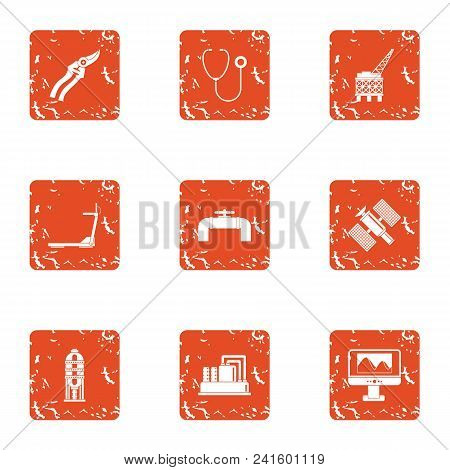 Hunt Down Icons Set. Grunge Set Of 9 Hunt Down Vector Icons For Web Isolated On White Background