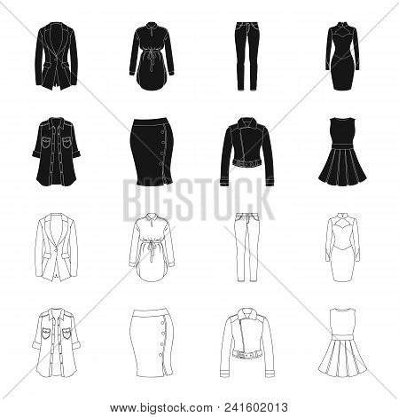 Women Clothing Black, Outline Icons In Set Collection For Design.clothing Varieties And Accessories