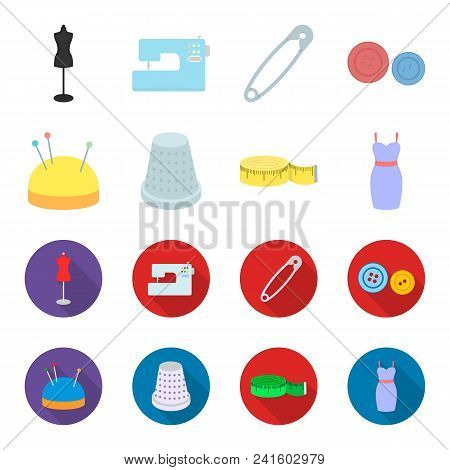 Pincushion With Pins, Thimble, Centimeter, Dress.atelier Set Collection Icons In Cartoon, Flat Style