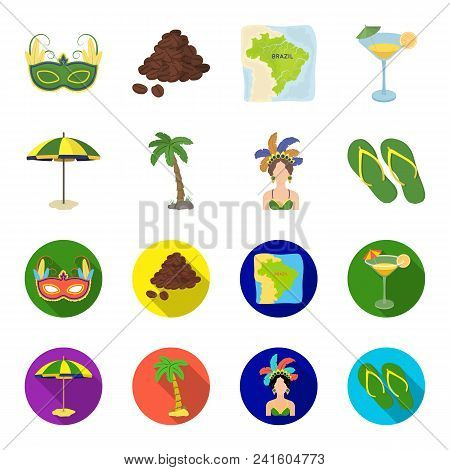 Brazil, Country, Umbrella, Beach . Brazil Country Set Collection Icons In Cartoon, Flat Style Vector