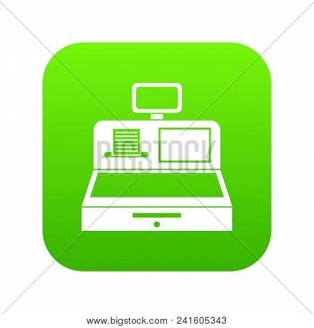 Cash Register With Cash Drawer Icon Digital Green For Any Design Isolated On White Vector Illustrati