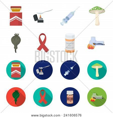 Aids Tape, Tablets, Opium Poppy, A Tube For Hashish.drug Set Collection Icons In Cartoon, Flat Style