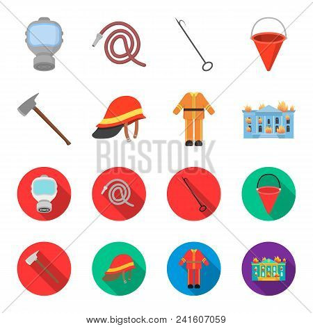 Ax, Helmet, Uniform, Burning Building. Fire Departmentset Set Collection Icons In Cartoon, Flat Styl