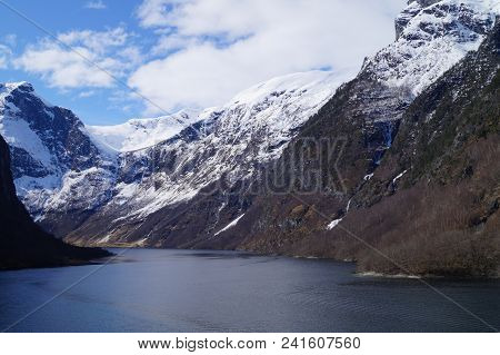 With A Cruise Ship Through  The Most Famous Fjord Of Norway The Ardalfjord
