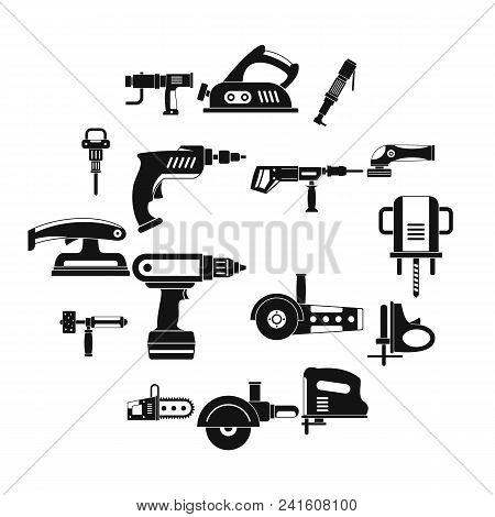 Electric Tools Icons Set. Simple Illustration Of 16 Electric Tools Vector Icons For Web